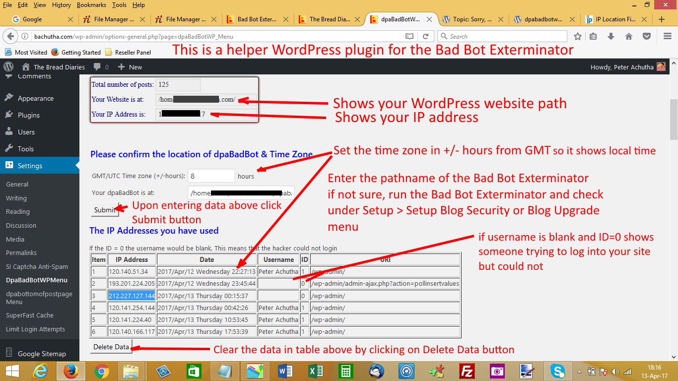 Shows that only one field data needs to be entered and that is the directory where The Bad Bot Exterminator is located. Also shows what IP addresses you have been using to access your WordPress site. screenshot-1.png