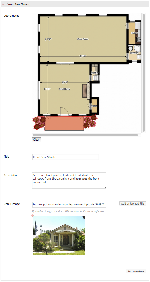 Upload a floor plan and show detail photos for each room