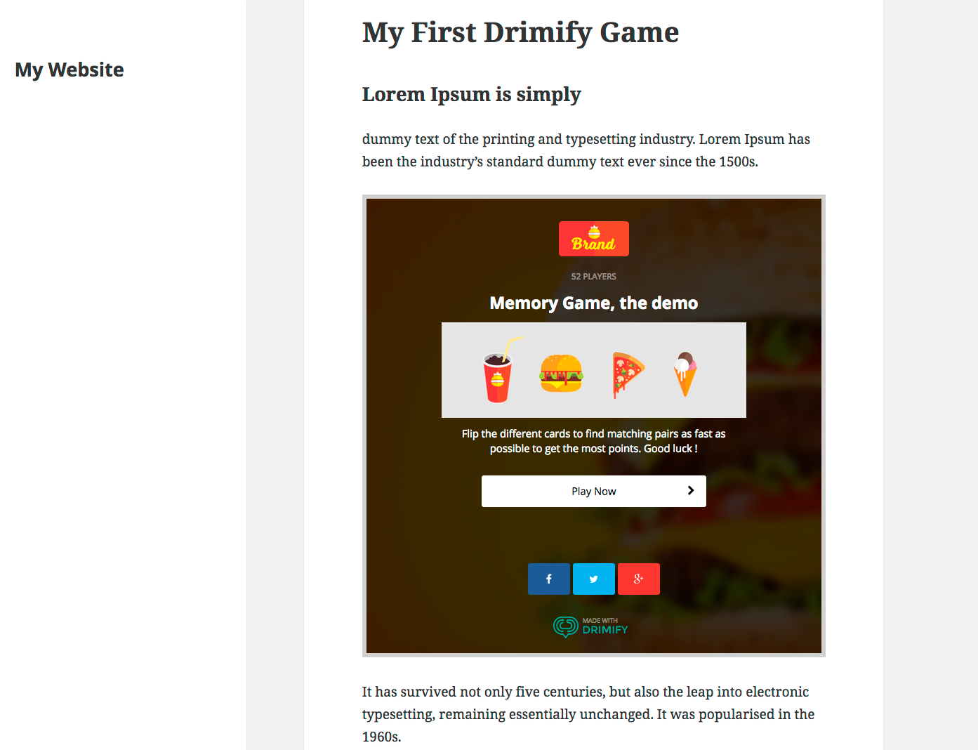 Once pasted in your post/page, your game will show