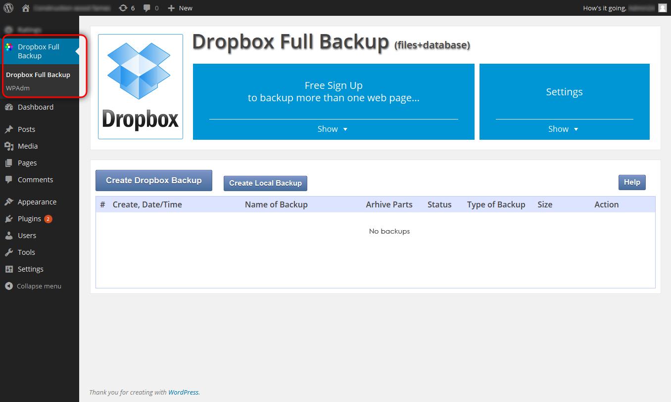Backup & Restore Dropbox — WordPress Plugins