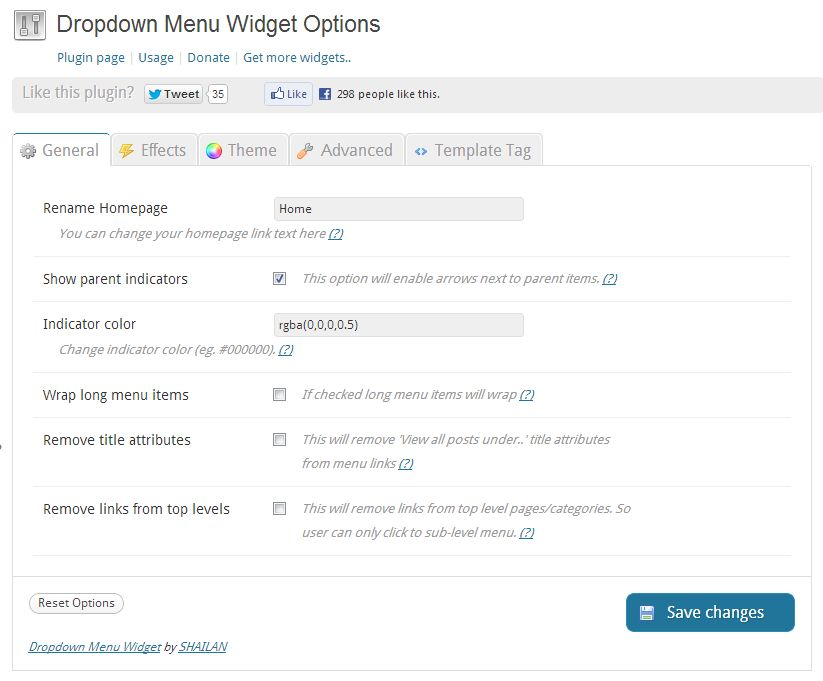 Brand new dropdown menu options page.