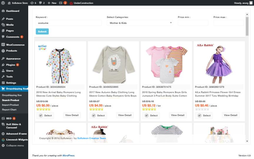 Search Products page.