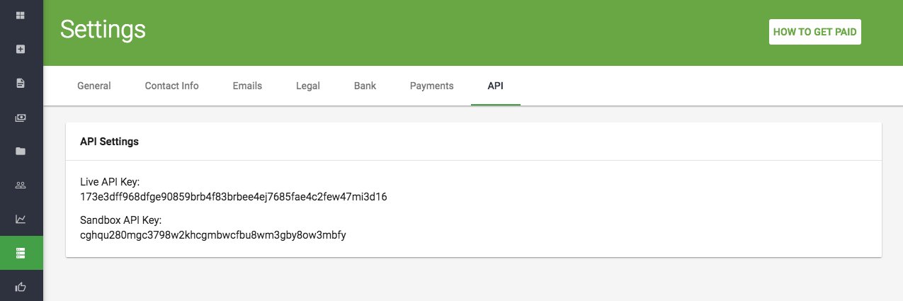 Screenshot 1 - Sandbox and Live Api Keys Location