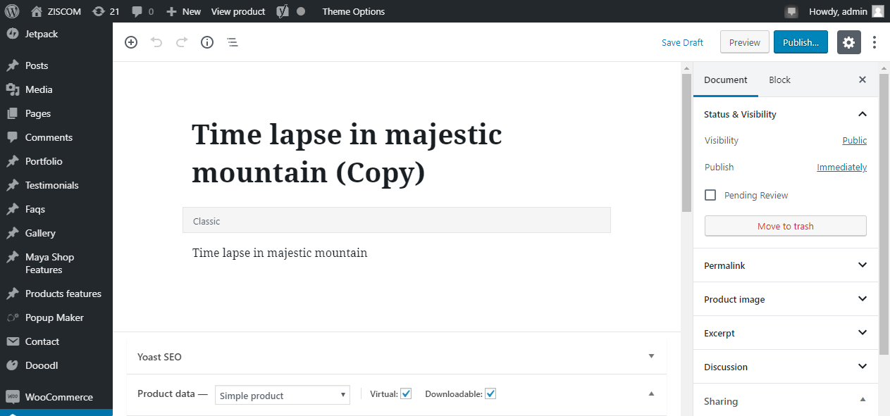 Example of woocommerce product duplicate output