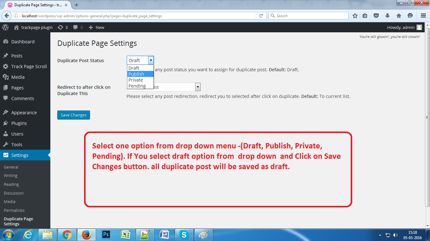 Select Option from Settings Page.