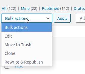 Bulk actions.