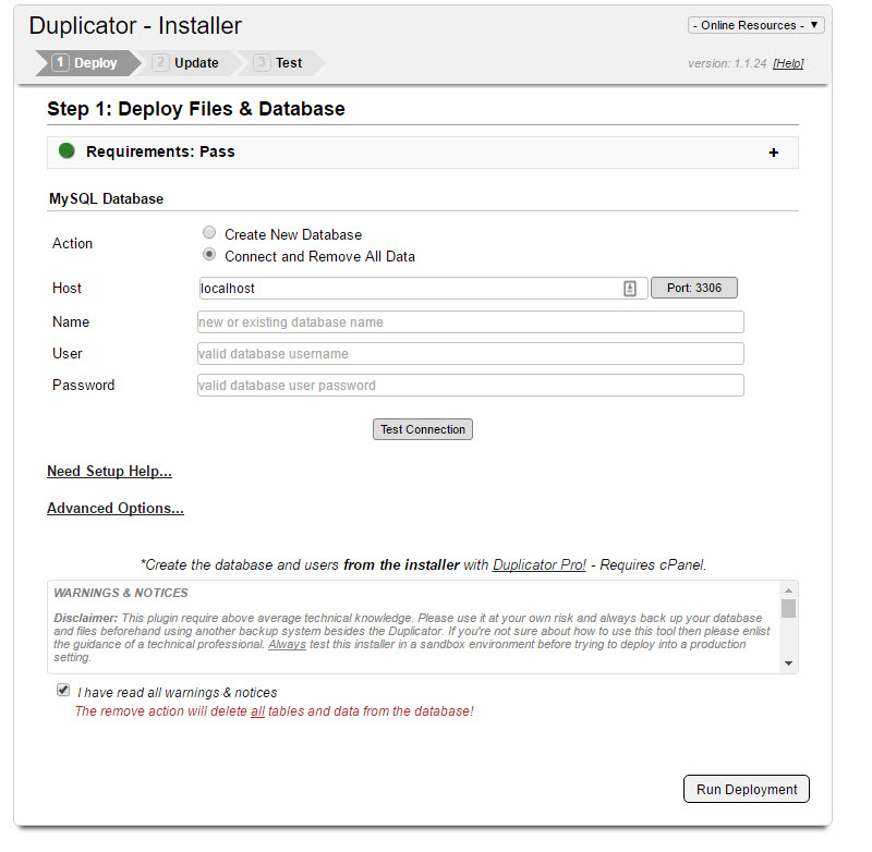 Duplicator - Installer for migrating the clone package to a new location