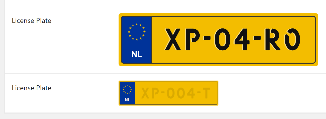 """Example of how the """"CMB2 Field Type: Dutch License Plate"""" looks like."""