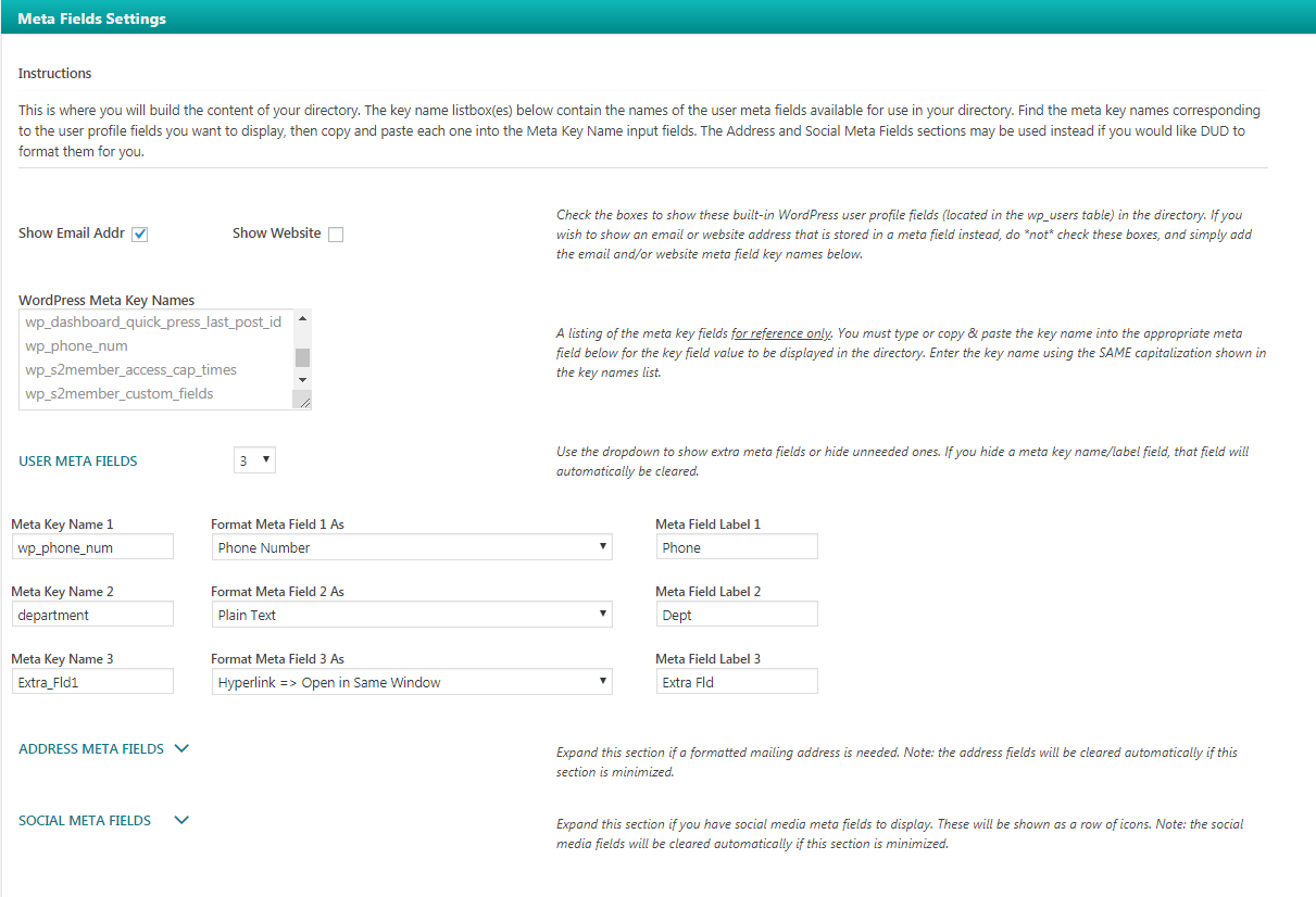 dynamic user directory wordpress org