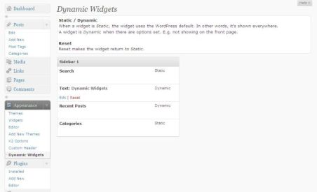 Widgets overview page