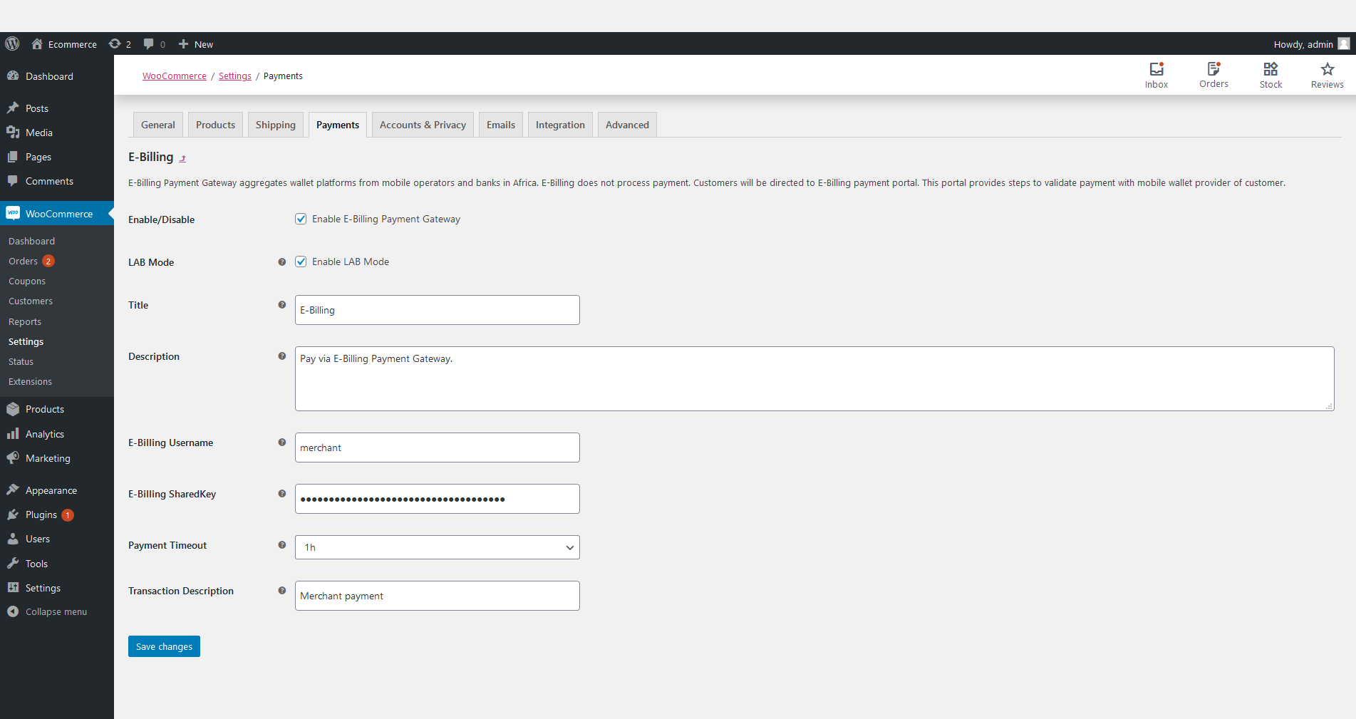 Settings of E-Billing Plugin on Woocommerce