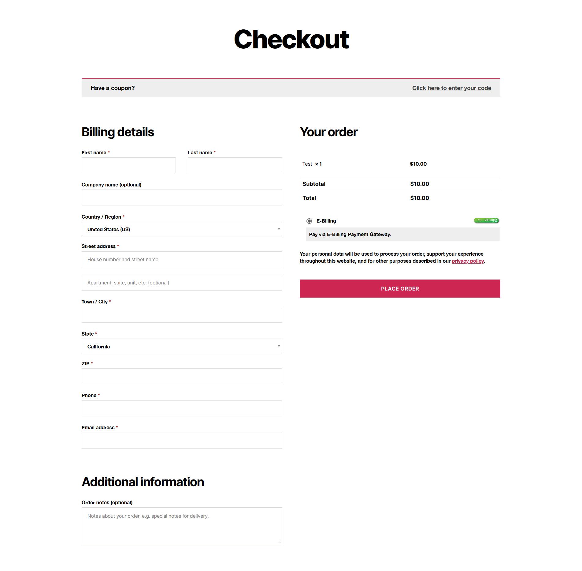 E-Billing Plugin on Checkout Page