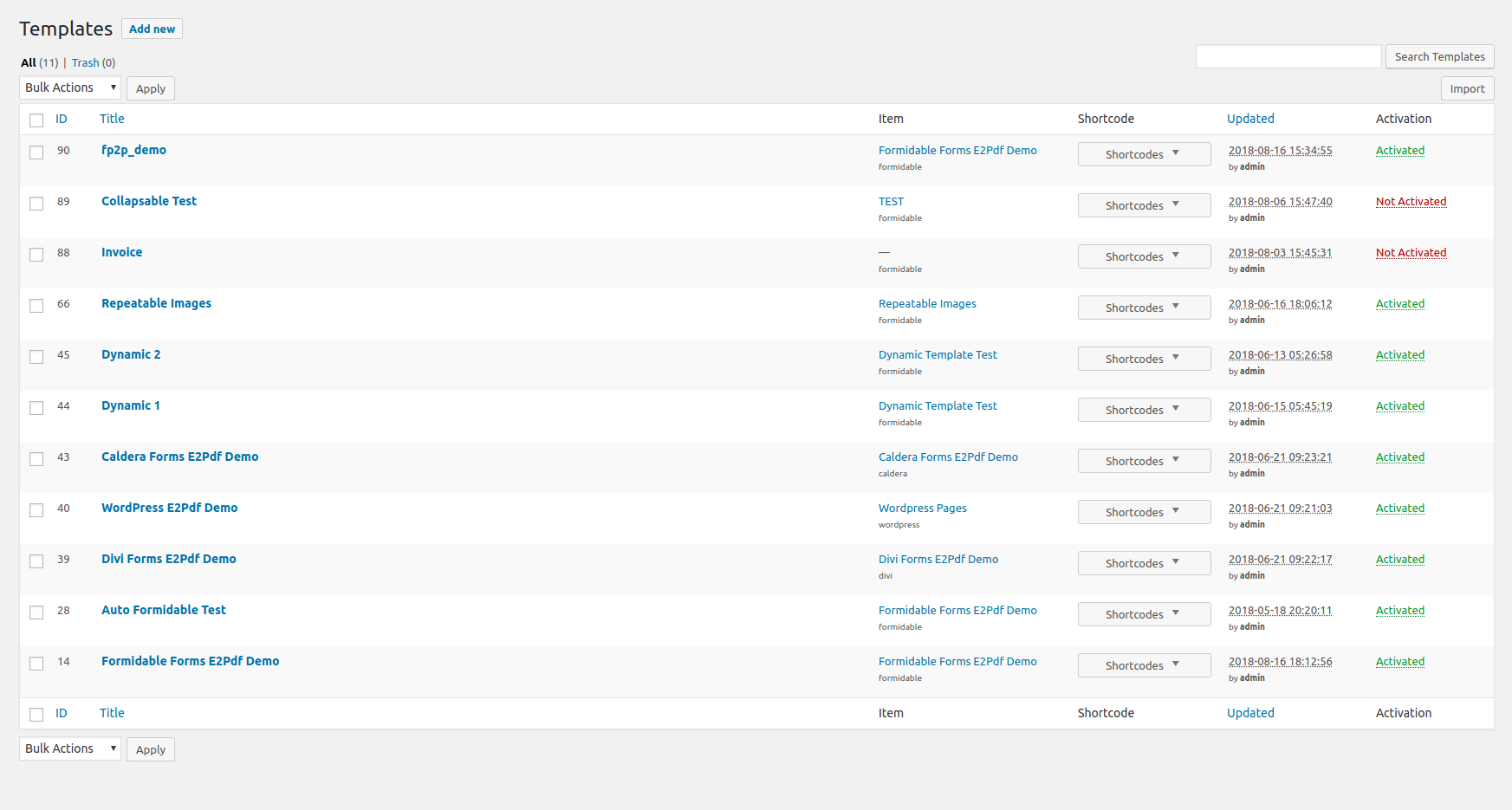 Templates list Page.