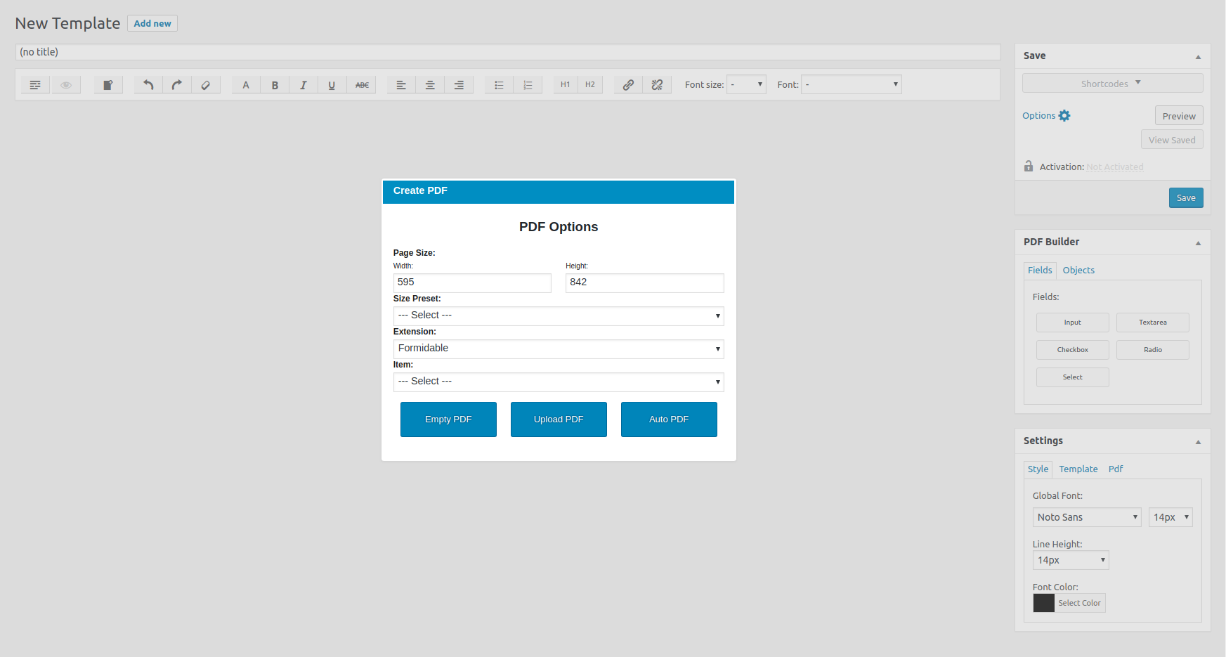 Creating new PDF Template.