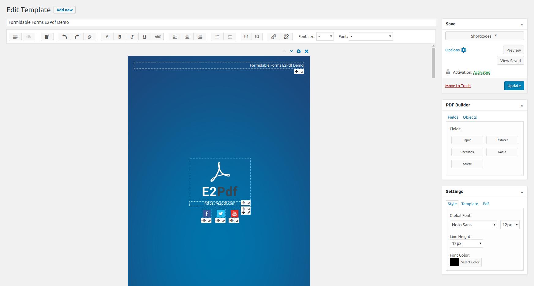 Editing PDF Template.
