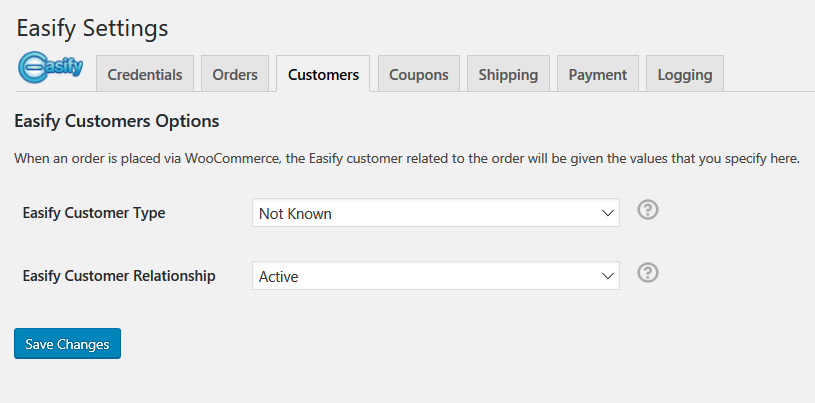 Customers, these settings are used when customers are automatically raised in Easify.