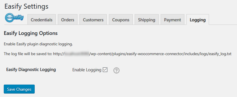 Logging, if you need it you can enable detailed logging for the Easify WooCommerce Plugin.
