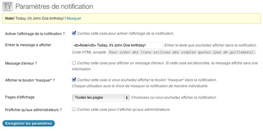 The Easy Admin Notification in French