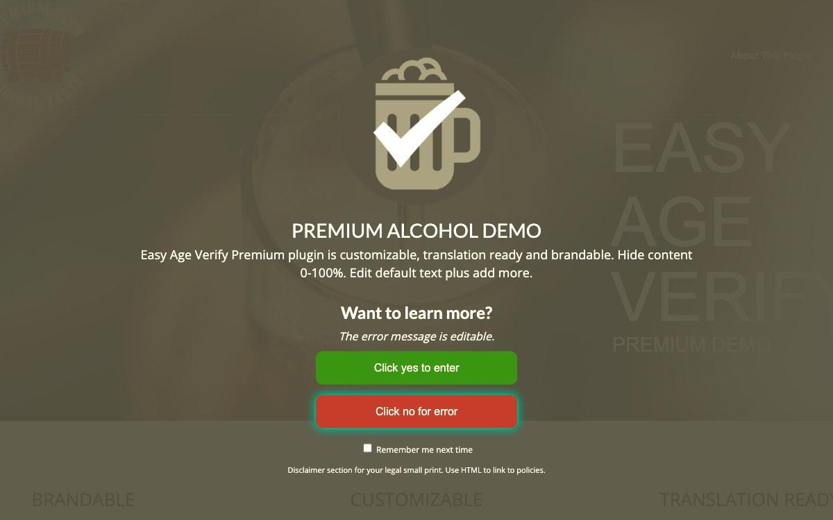 Alcohol Demo Display - Premium Version