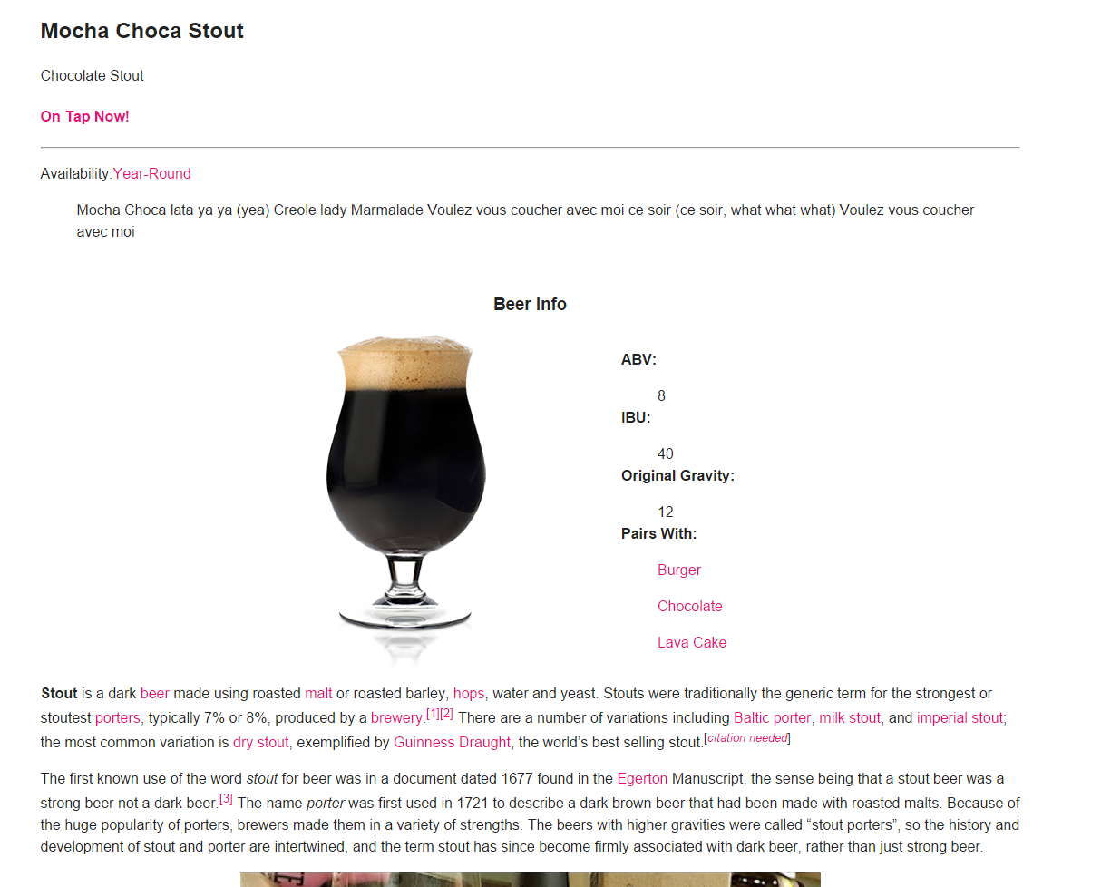 Beer page works regardless of theme