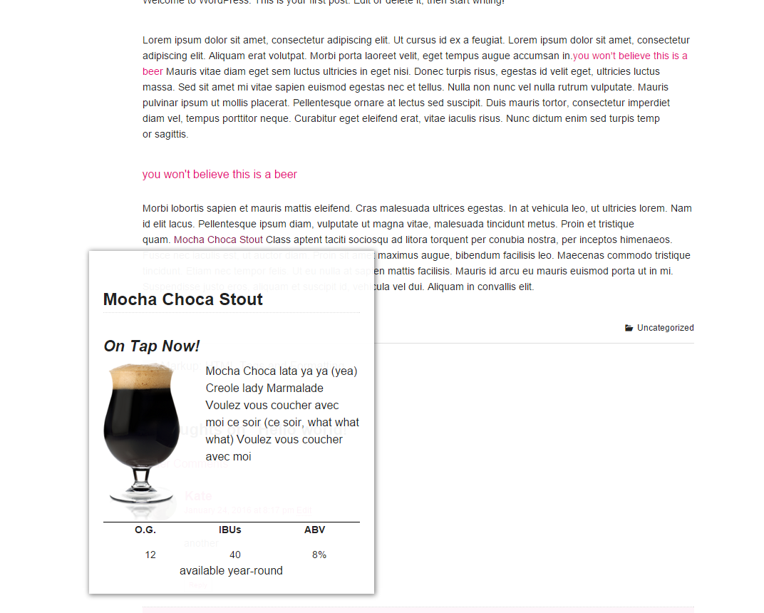 Shortcodes display beers in blog posts and pages