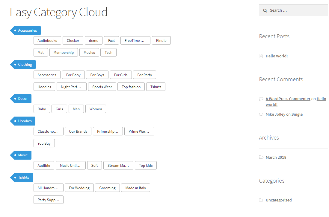 It shows the default view of 'Easy Category Cloud' enabled page.