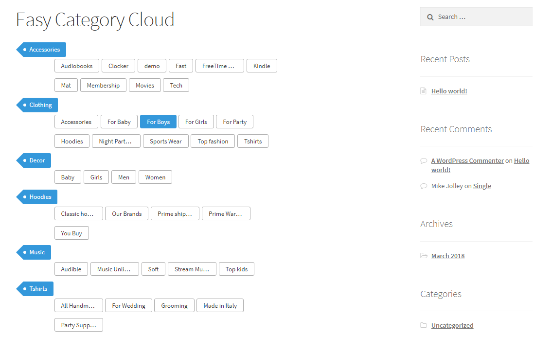 It shows the default view of 'Easy Category Cloud' enabled page with hover or selected sub category..