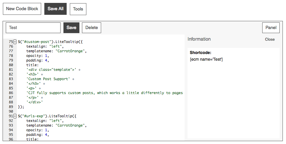 Code block shortcodes can be copied and pasted directly into your Pages or Posts