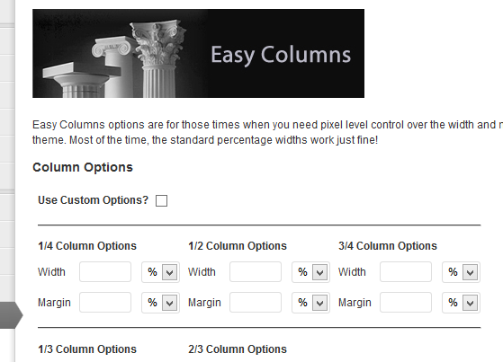 The Easy Columns settings page.