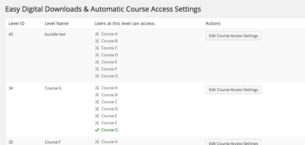 <p>The Course Access Settings screen will display which products are associated with which courses</p>