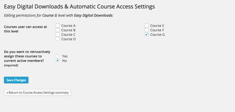 <p>This is the actual configuration screen where you can select courses that will be associated with a particular product as well as retroactively assign courses to current customers</p>