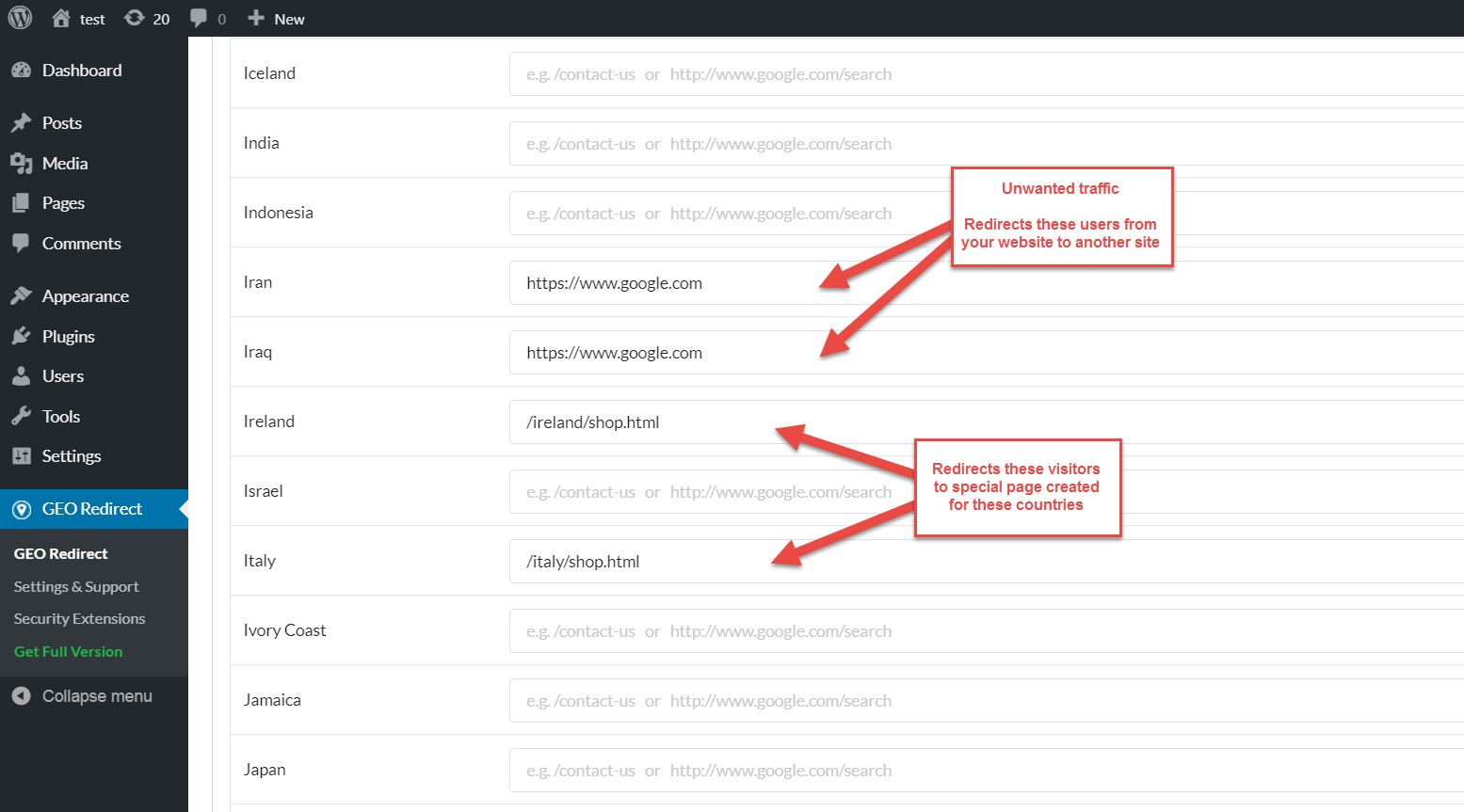 Redirect settings page