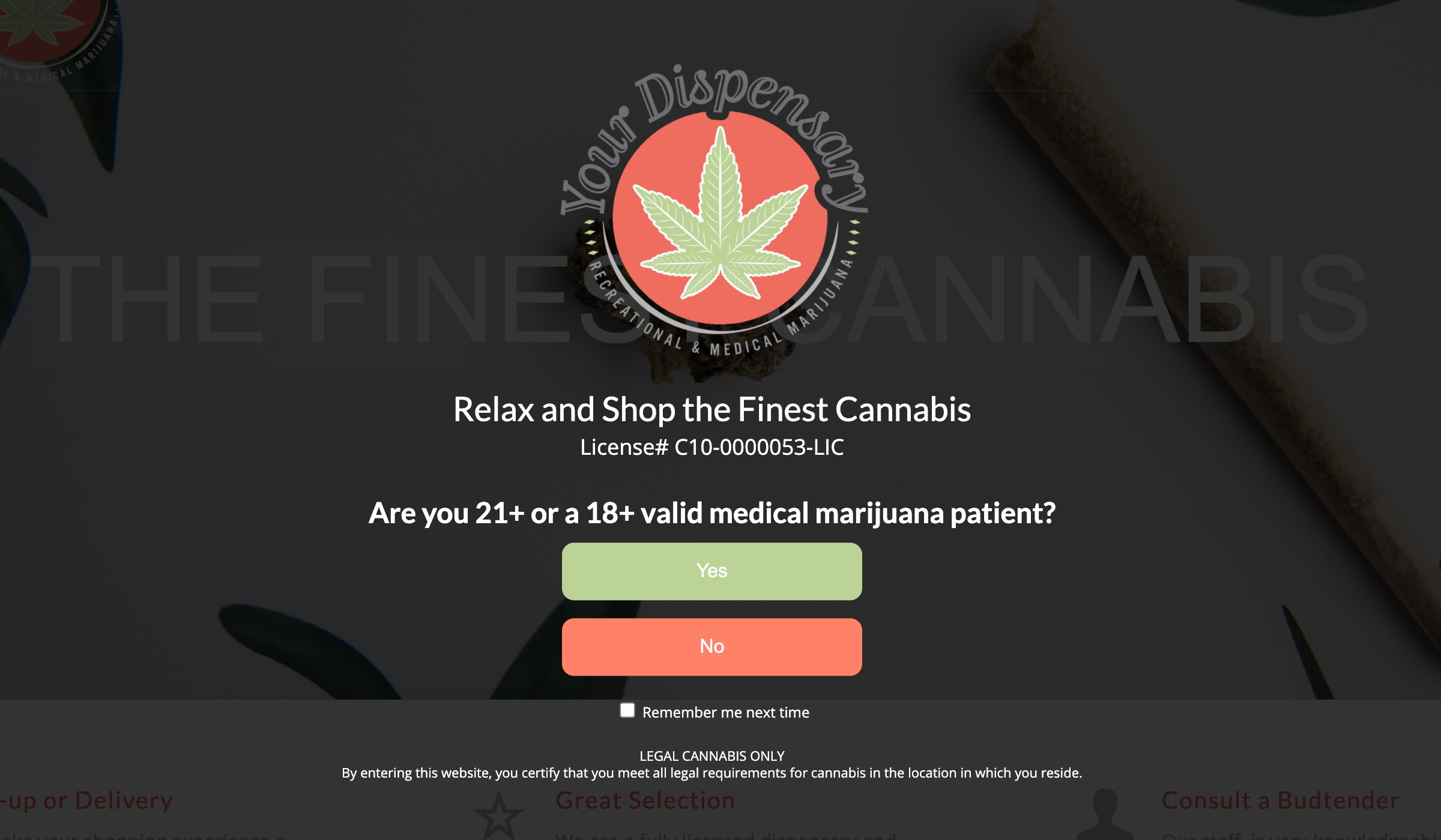 18+ medical and 21+ recreational cannabis together window - Premium