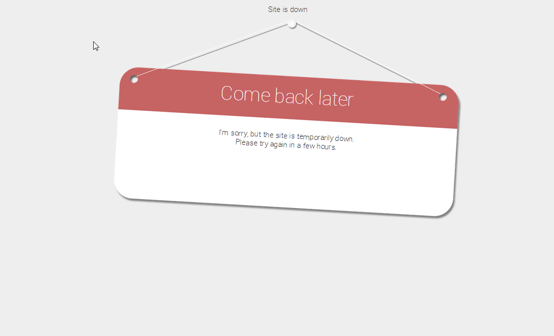 Site in maintenance mode when using the 'Temporarily Closed' mini-theme.