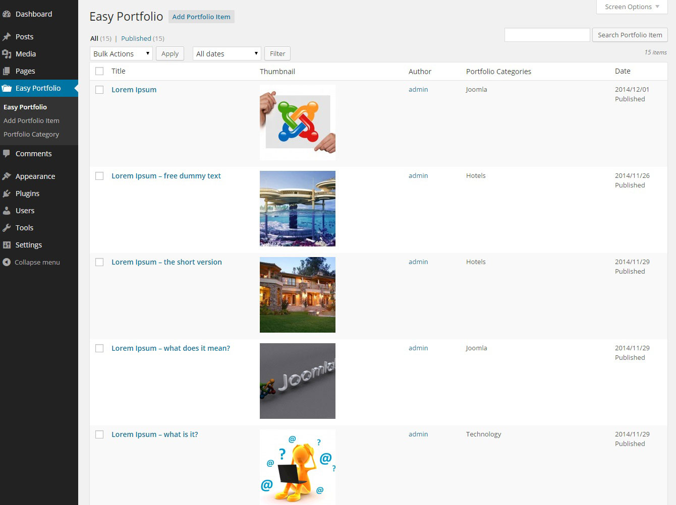 Overview List Of Portfolio/Project are shows and also can manage list of Portfolio items.