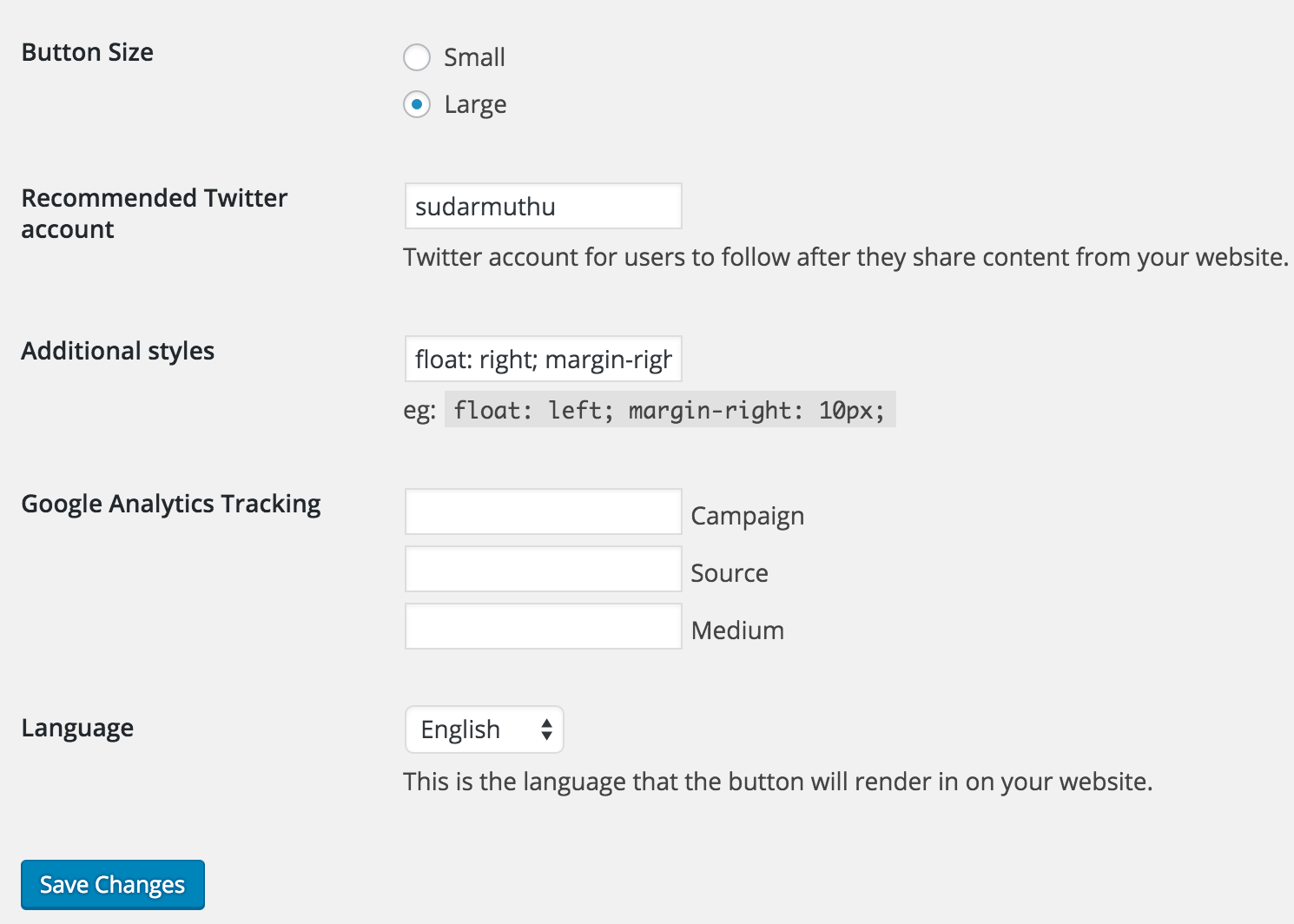 <p>Twitter button Settings page</p>