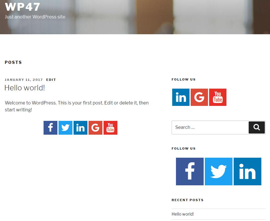 display social icons in sidebar using widget