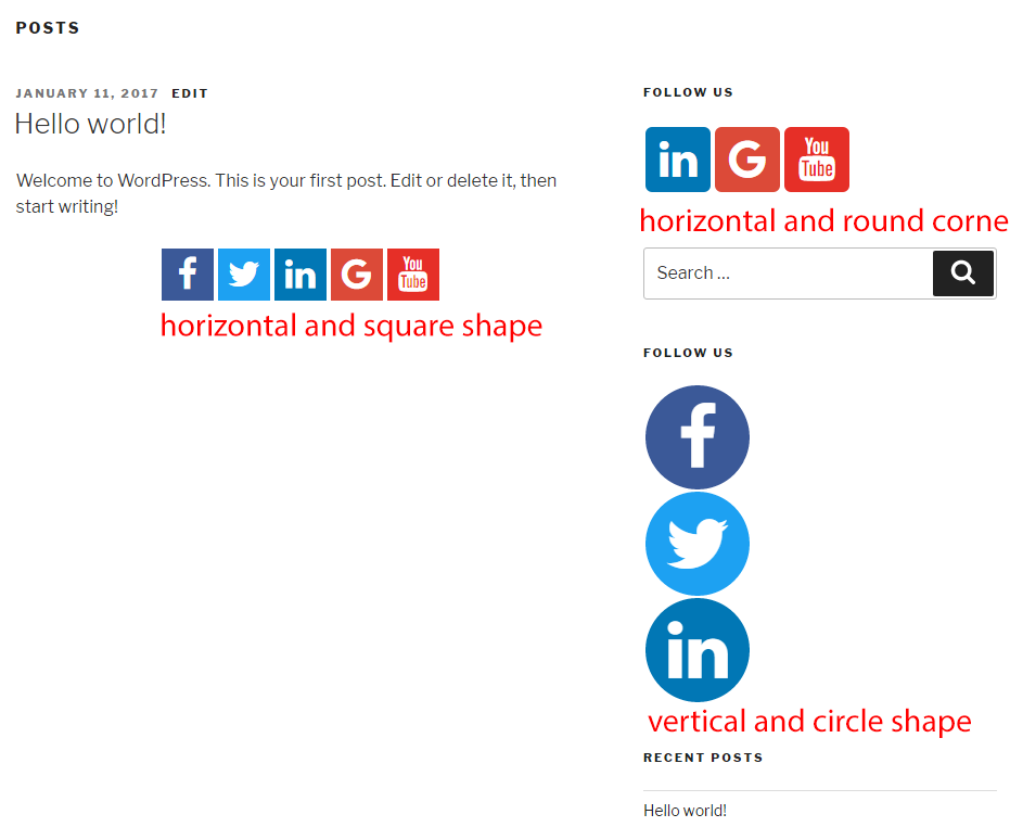 display social icons in sidebar using widget different icons shape
