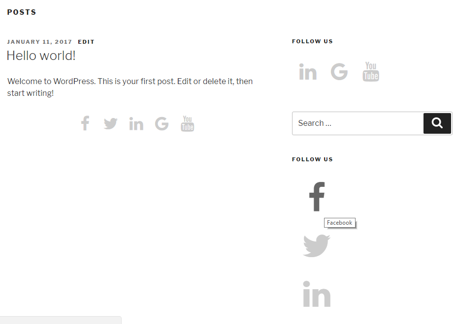 display social icons in sidebar using widget different icons colors