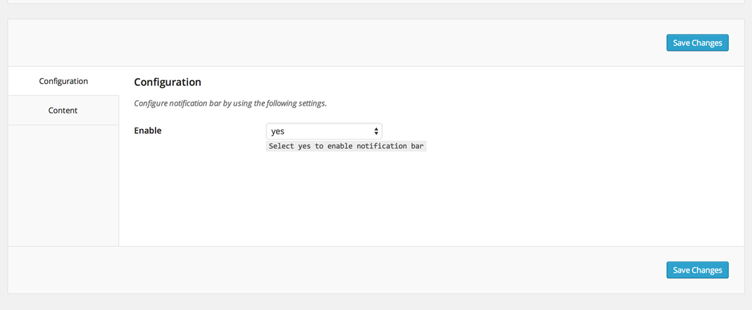 Configuration options for the WordPress Easy Sticky Notification Bar plugin.