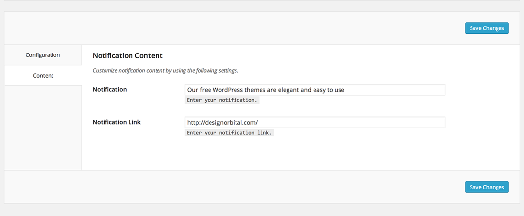 Notificaton content settings for the WordPress Easy Sticky Notification Bar plugin.
