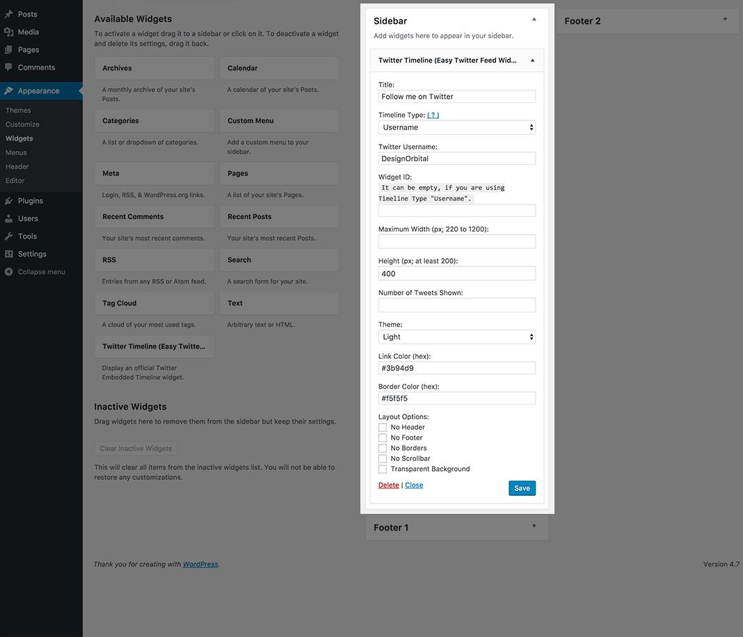 Easy Twitter Feed Widget Plugin Wordpress