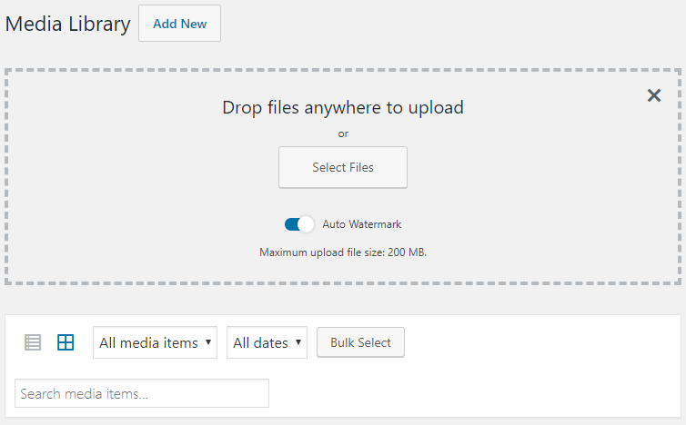 Watermark control while uploading images