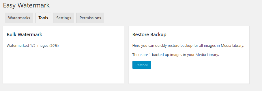 Bulk watermark and restore all images