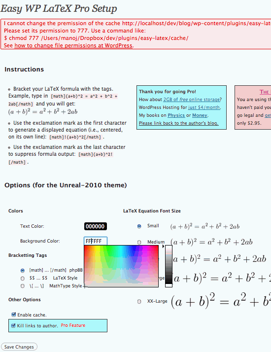 How to set the options for <em>Easy WP LaTeX</em>.