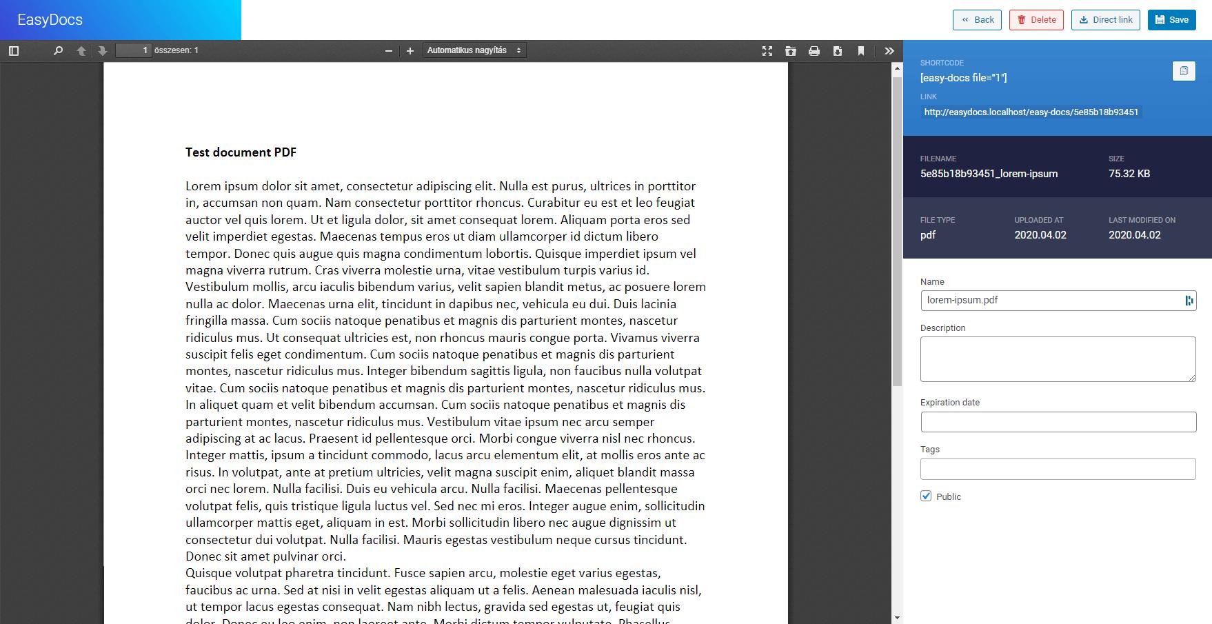 File manage screen (PDF)