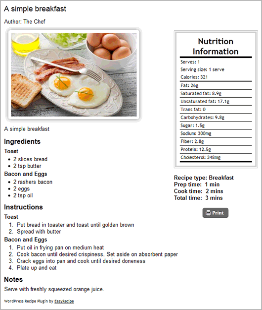 Easyrecipe wordpress plugins just one of the display styles available you can choose from a range of pre defined styles or create your own in easyrecipe plus forumfinder