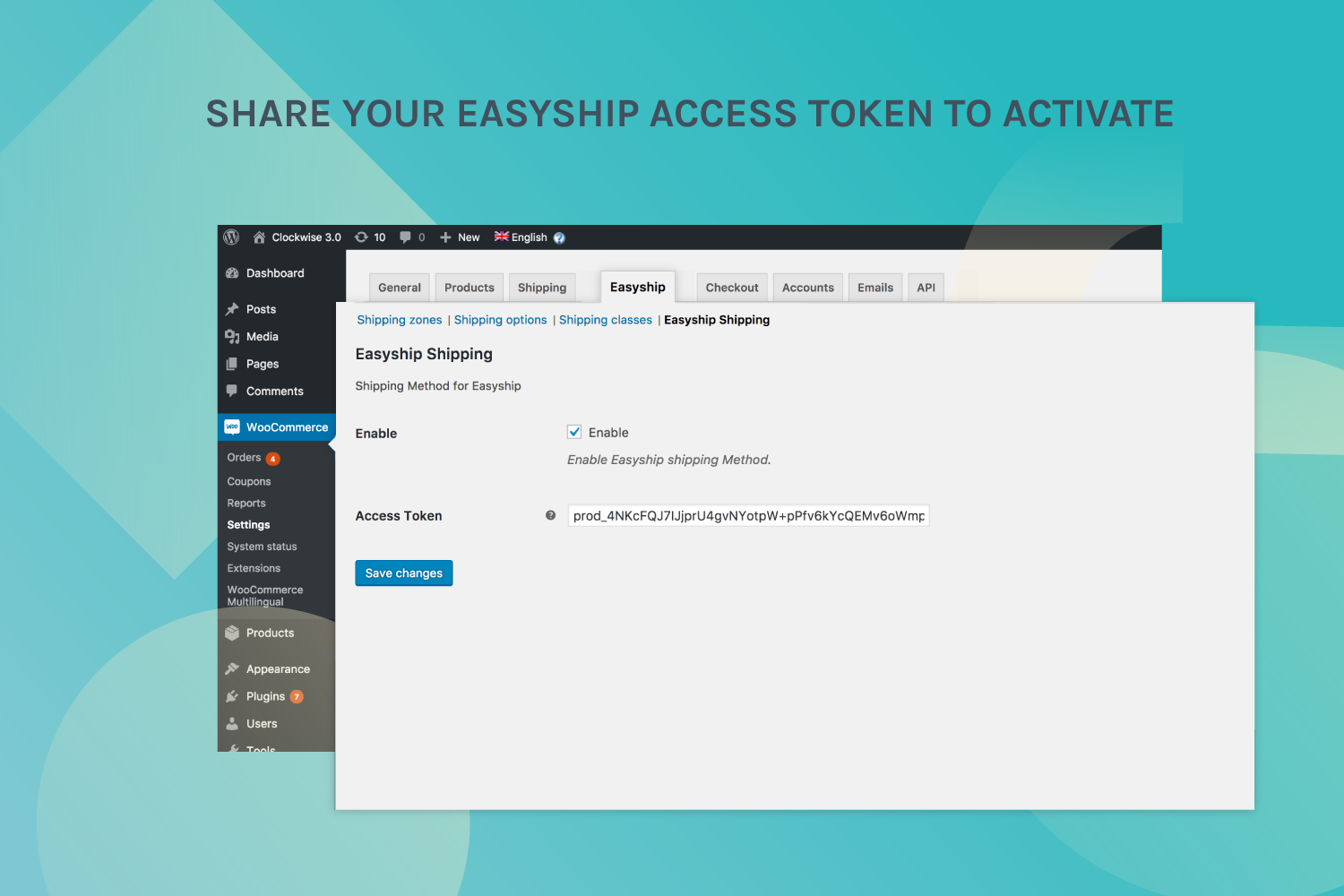 Share your Easyship access token to activate
