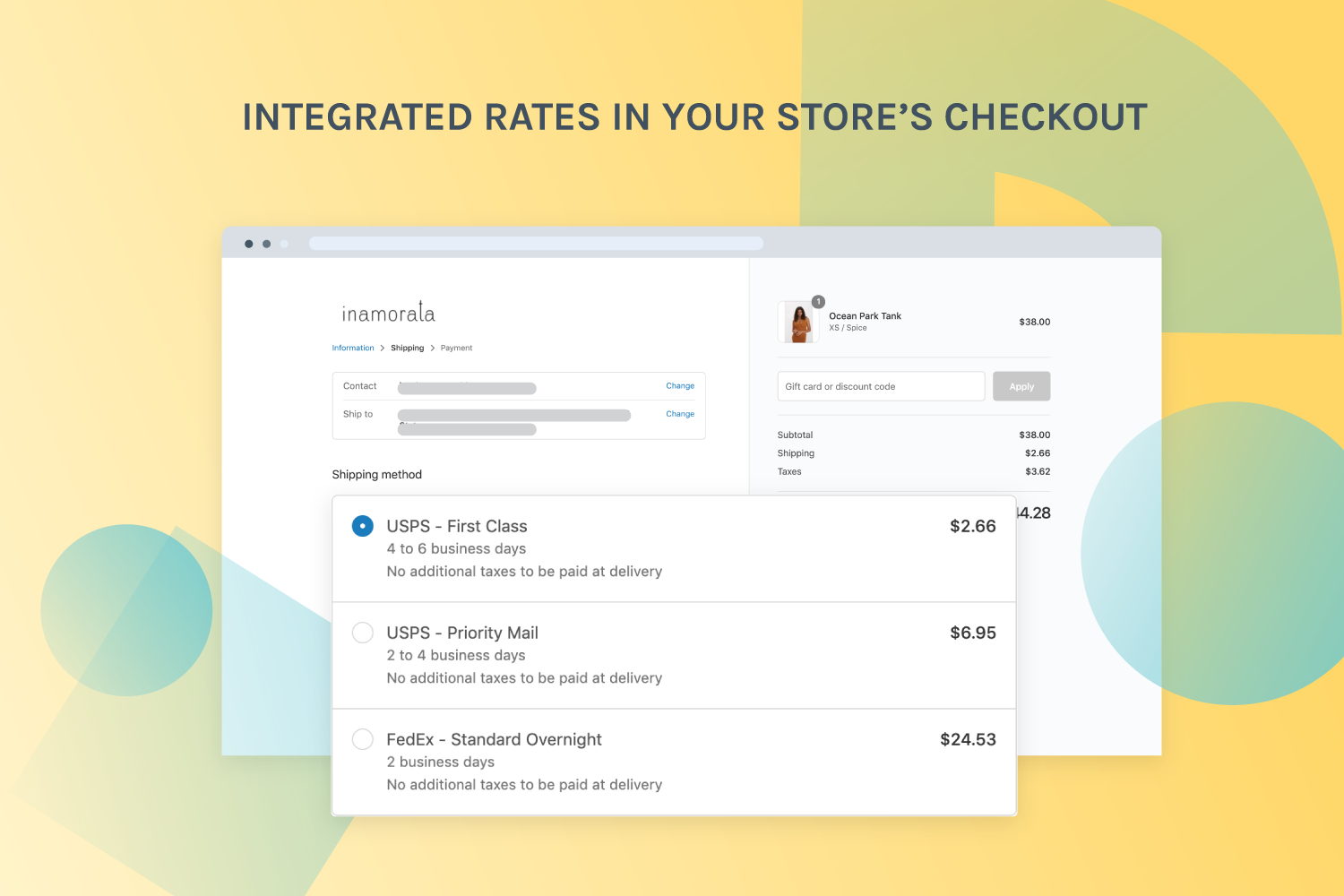 Integrated rates in your store's checkout
