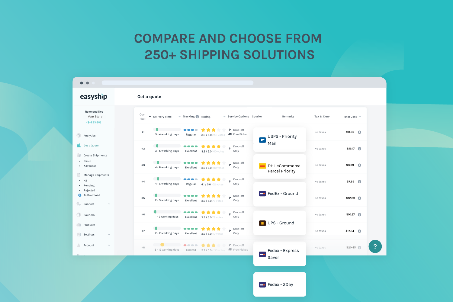 Compare and choose from 250+ shipping solutions